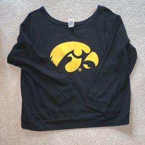 Off the shoulder University of Iowa sweatshirt